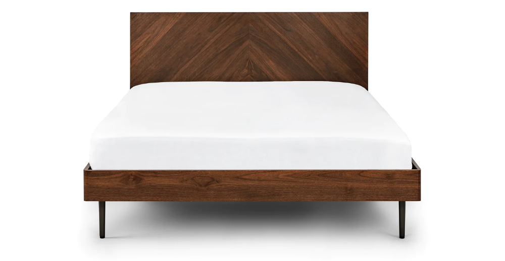 Nera Walnut Queen Bed Modern Wooden Bed Contemporary Bed Frame King Size Bed Frame