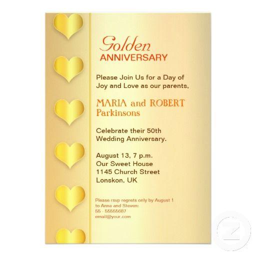 Golden Wedding Anniversary 50th Invitation Golden Zazzle Com In 2020 50th Wedding Anniversary 50th Wedding Anniversary Invitations Wedding Anniversary Invitations