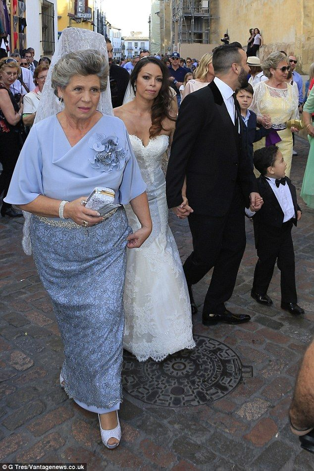 Popular: The happy couple certainly had a big turnout for their special day...