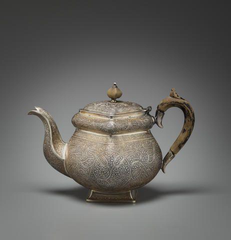 A silver teapot Kashmir, circa 1880