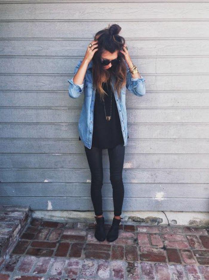 Robe avec chemise en jean style chemise tenue classe avec un jean robe  noire courte f613ffea955