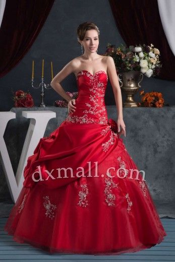 Ball Gown Color Dresses Sweetheart Floor Length Satin-organza Satin Burgundy #quinceaneradresses #quinceaneradresses2014