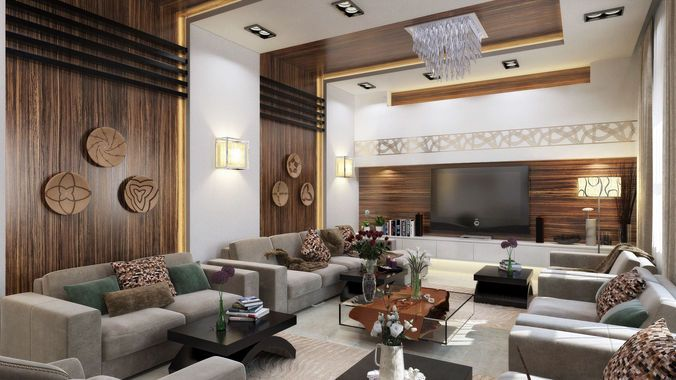 Modern l shape living room d model max interior scenes