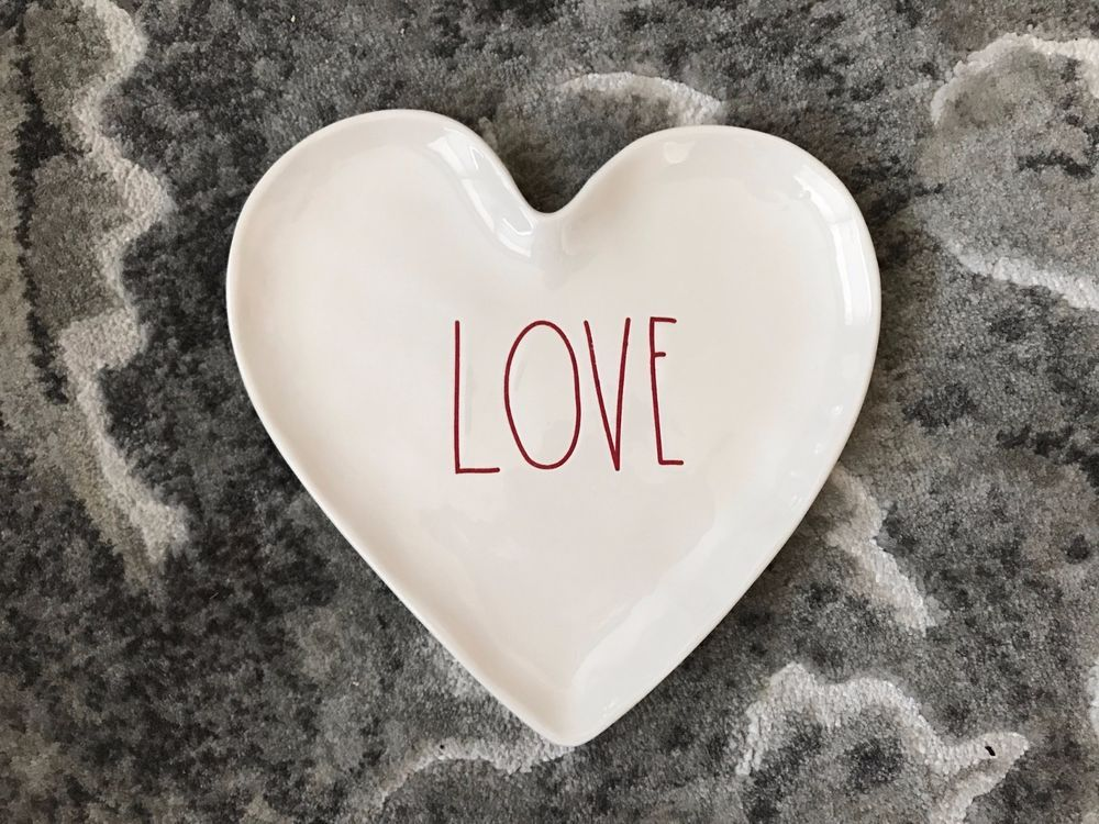 NEW Rae Dunn LOVE  heart-shaped plate by Magenta Perfect Valentineu0027s Day Gift & NEW Rae Dunn LOVE  heart-shaped plate by Magenta Perfect ...