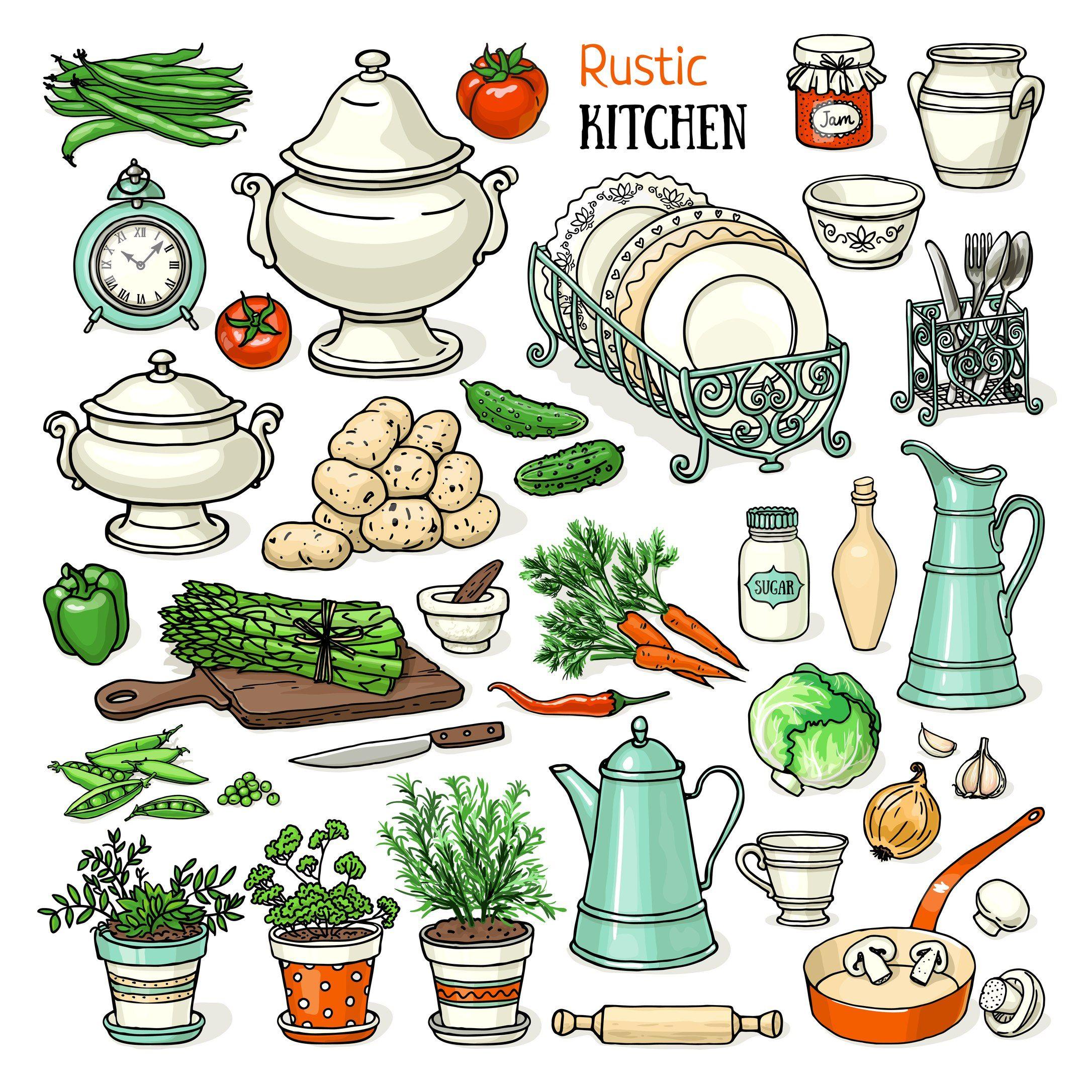 illustration, kitchen, art, printable, rustic kitchen, home, food ...