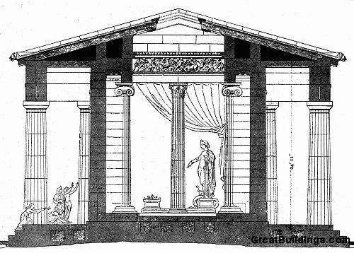 Great Buildings Drawing Temple Of Apollo Temple Of Apollo Greek Temple Buildings Drawing