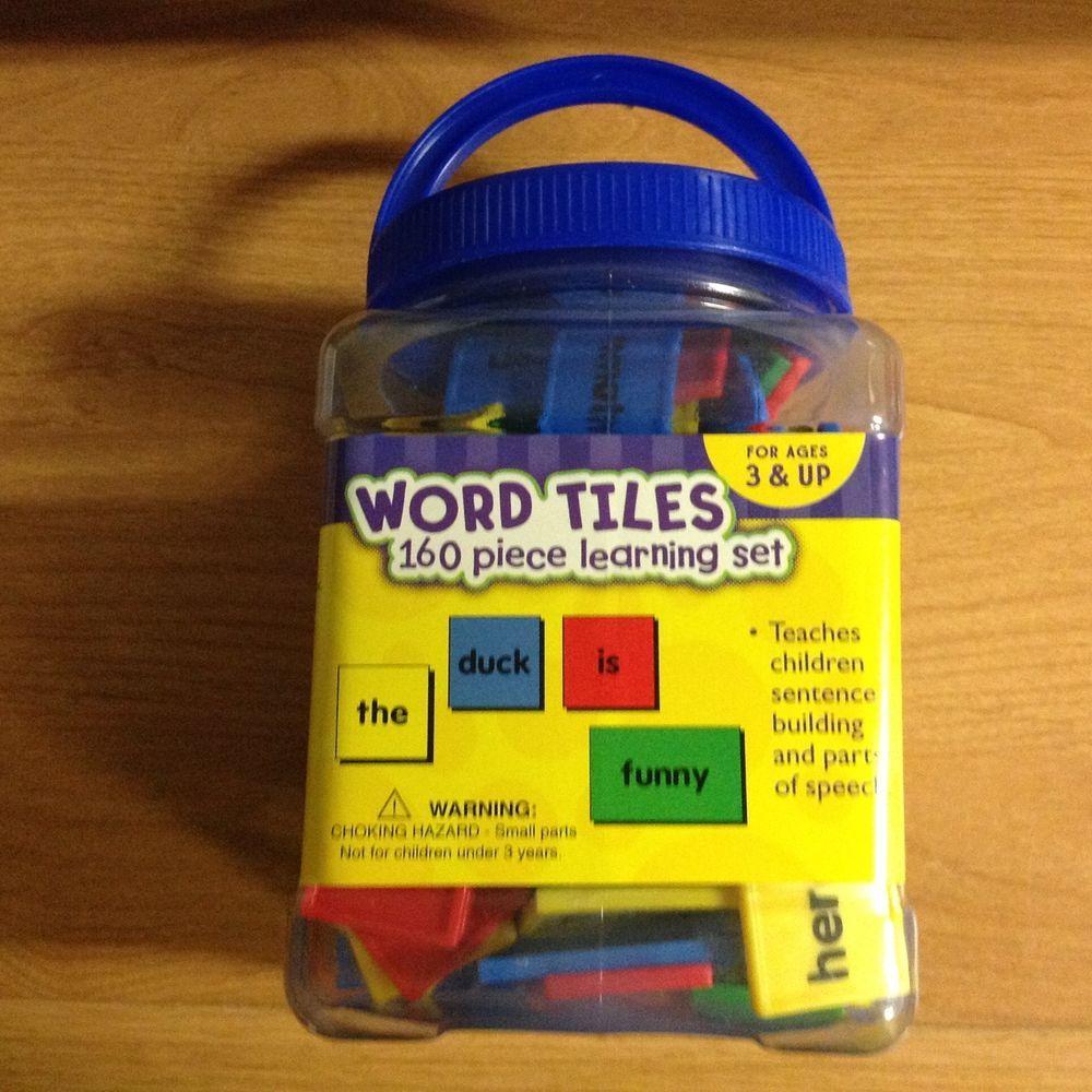 160 word tiles set to build sentences, color coded grammar