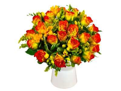 Rose Freesia Fresh Flower Bouquet Beautiful Roses And Freesia Flowers Delivered Next Day Fresh Flower Bouquets Freesia Flowers Flowers Delivered
