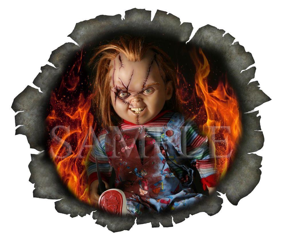 Bullet Hole Chucky Fire Evil Doll Windscreen Vinyl Sticker U K Post Only Vinyl Sticker Bullet Holes Bumper Stickers [ 836 x 1000 Pixel ]