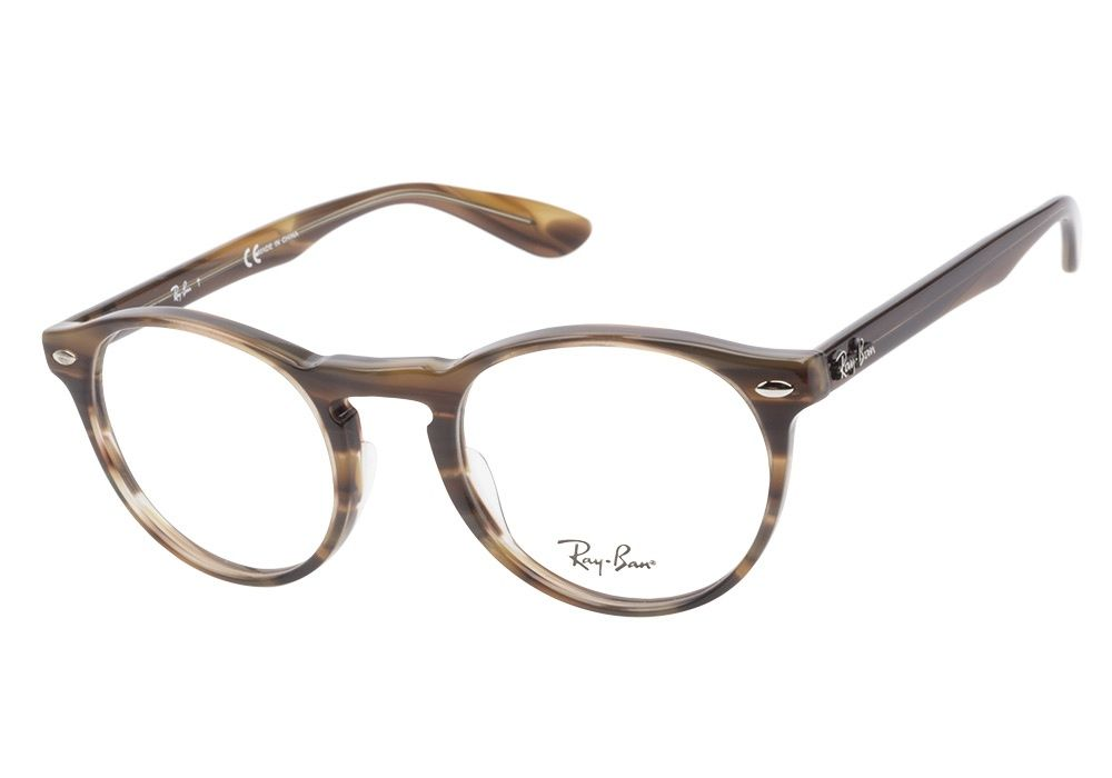 8d1cc518ed Ray-Ban RB5283 5139 Striped Brown eyeglasses are vintage cool. This round  acetate finish has a natural striated finish with a classic keyhole bridge.