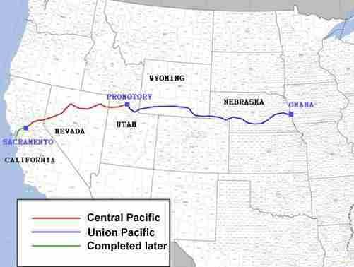 where did the two ends of transcontinental railroad meet