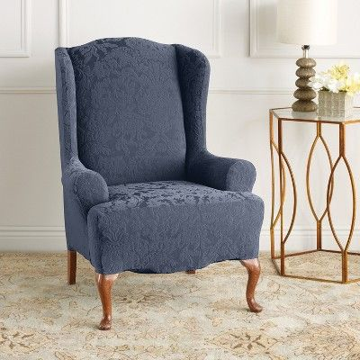 Stretch Jacquard Wing Chair Slipcover French Blue Sure Fit Slipcovers For Chairs Wing Chair Sure Fit