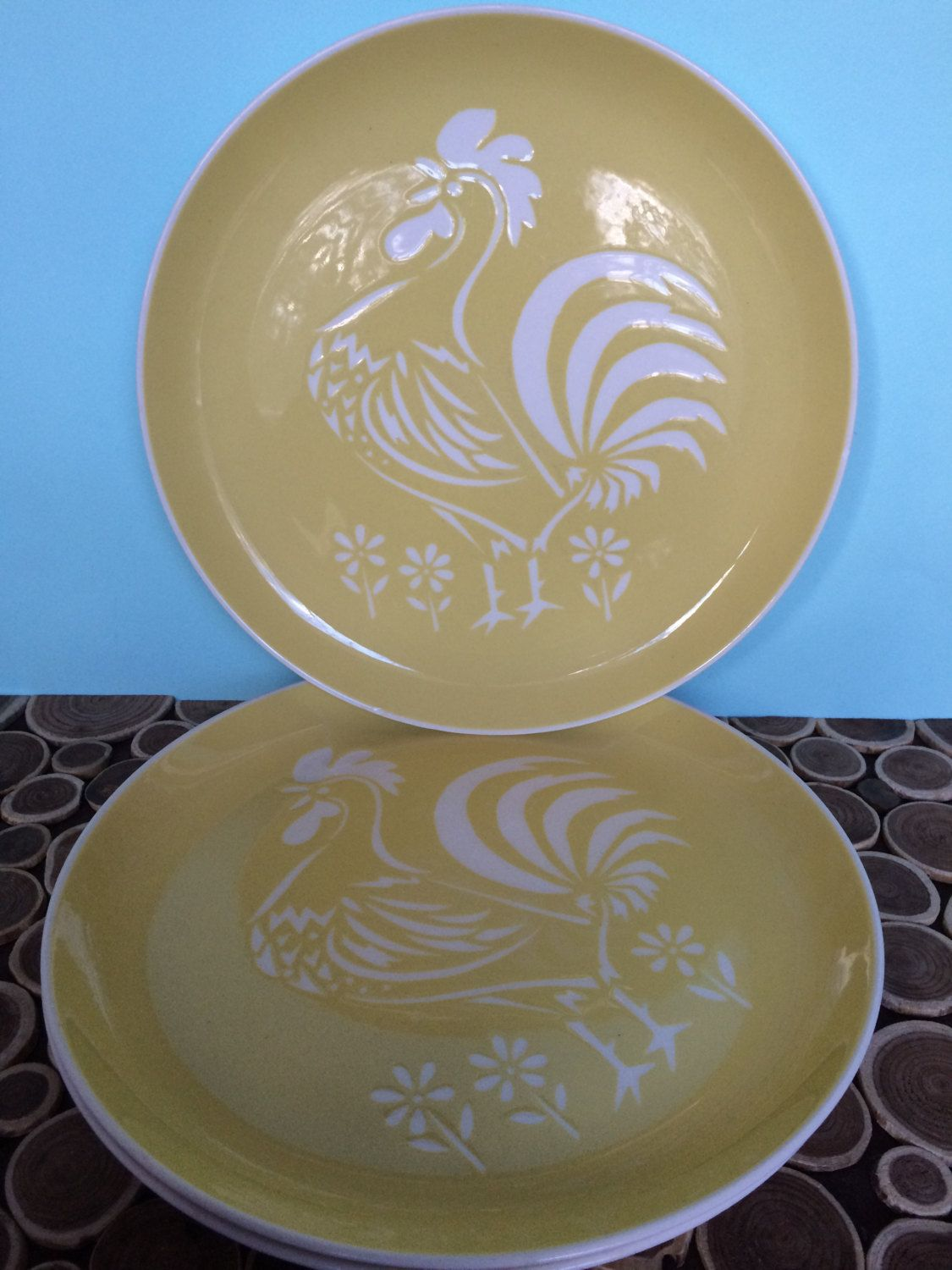 Harkerware Cock Ou0027Morn in Yellow - 10.5 inch Dinner Plates - Set of 3 - Atomic Midcentury Modern Vintage Dinnerware & Harkerware Cock Ou0027Morn in Yellow - 10.5 inch Dinner Plates - Set of ...