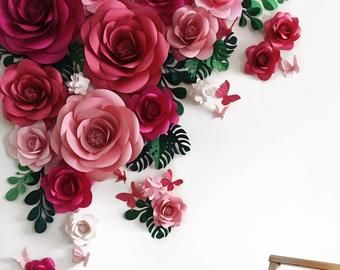 Wedding Paper Flower Backdrop - Alternative Paper Flower Arch - Wedding Reception Decor