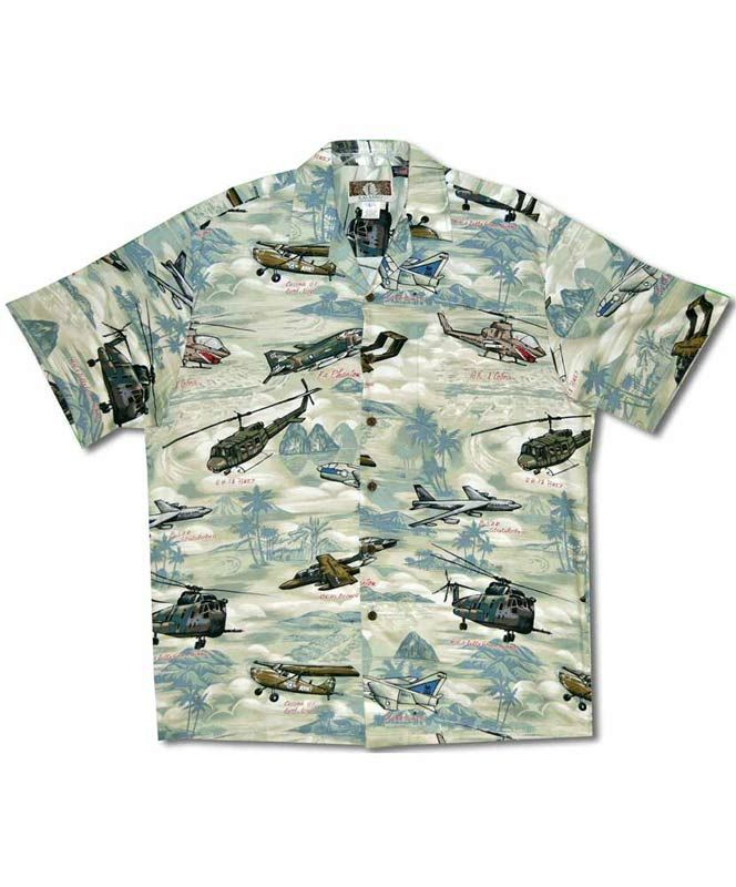 1d71d6694c The Vietnam Era Hawaiian shirt features Vietnam War era airplanes and  helicopters, including the Cessna 0-1, the F-4 Phantom, and the UH-1 Huey,  ...