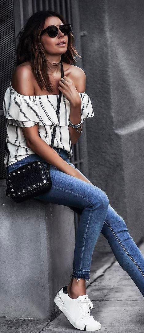b97bdc6e8428 summer casual style addiction  off shoulder top + bag + skinnies + sneakers