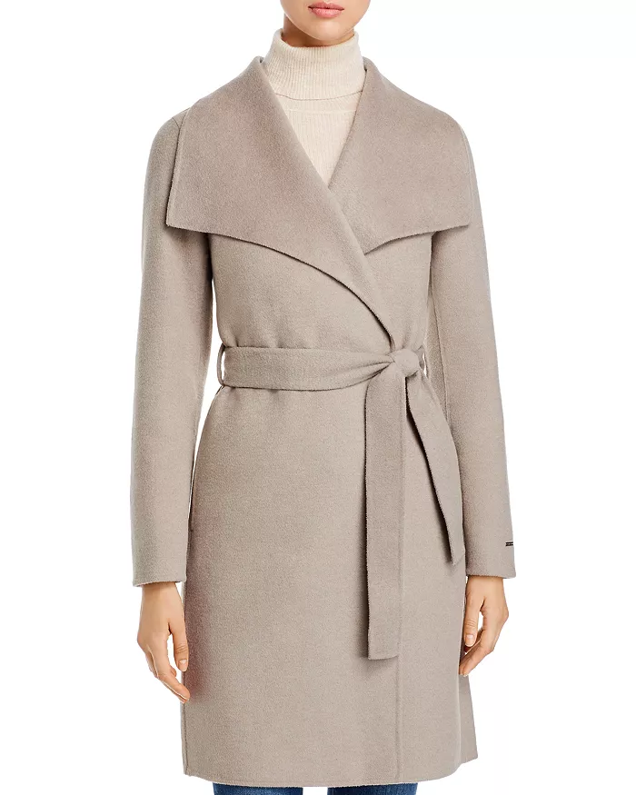 T Tahari Womens Double Face Wool Wrap Coat with Oversized Collar Wool Coat