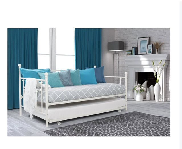 Daybed With Trundle Modern Locking Casters Guest Room Bedroom