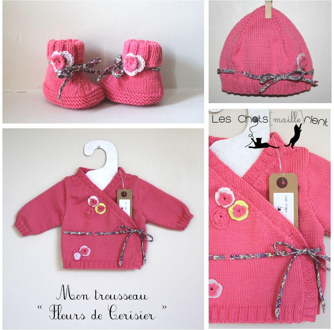 sur commande trousseau de naissance en tricot fleurs de cerisier 0 1 mois mode b b par les. Black Bedroom Furniture Sets. Home Design Ideas