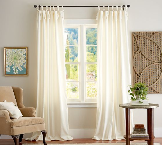 Cameron Cotton Tie-Top Drape | Pottery Barn | Master Bedroom ...