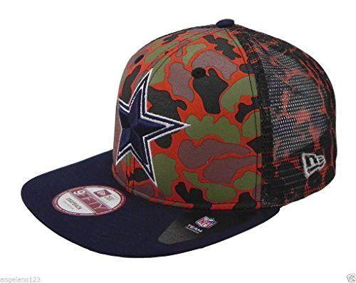 971c13fb586082 Dallas Cowboys CAMO FACE SNAPBACK 9Fifty Mesh New Era NFL Hat = Orange Camo  = Med/Large