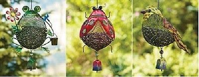 Bird Feeder Mesh Steel Frog Ladybug Seeder Hanging Garden Yard Patio Decor NEW