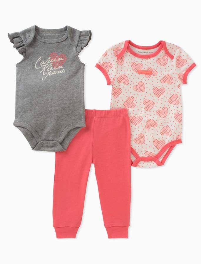 c9fbd5705e47 Calvin Klein baby girls 2-pack heart onesies + leggings  babygirl ...