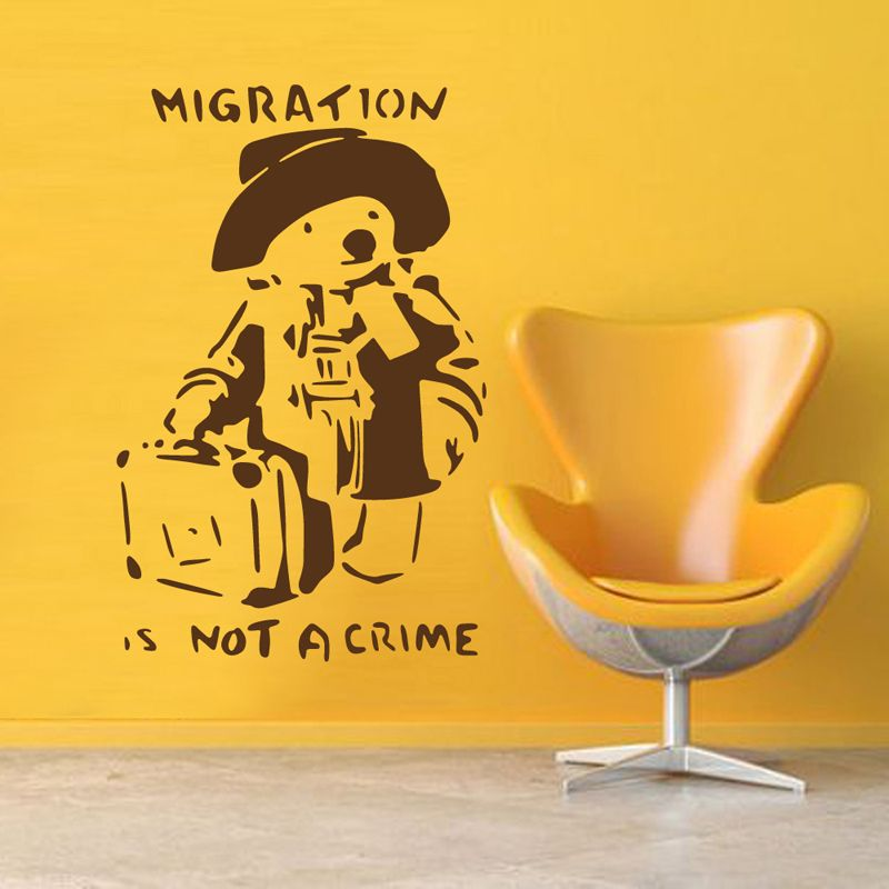 Banksy Migration Is Not A Crime Teddy Bear Vinyl Wall Decal Sticker ...