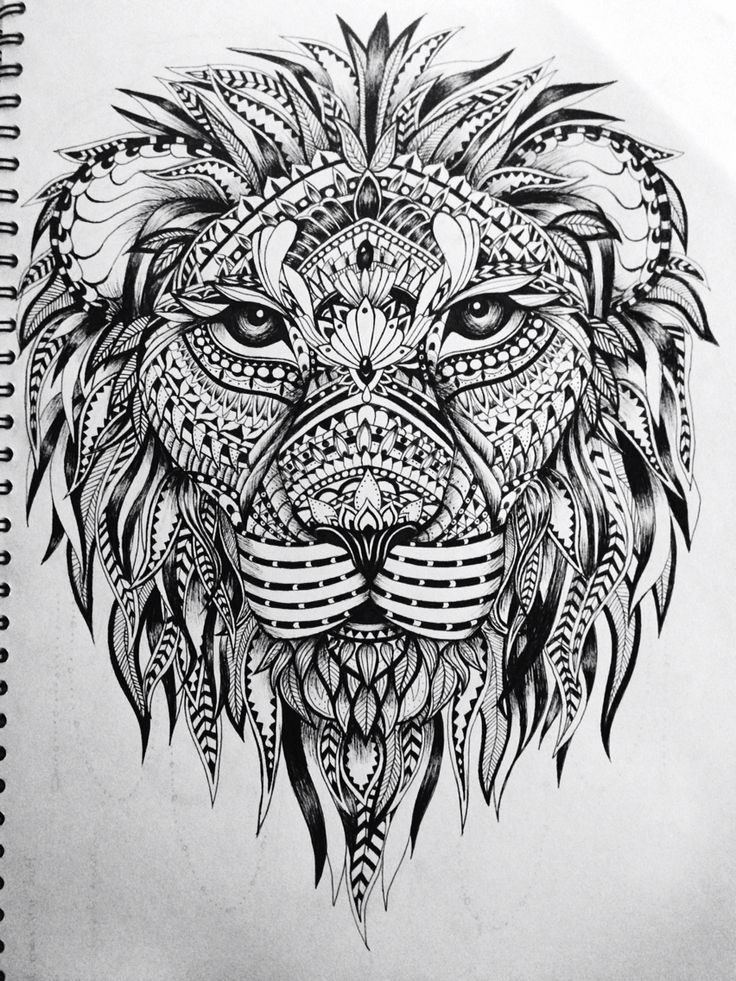 Printable Mandala Lion Drawing With 17 Best Ideas About