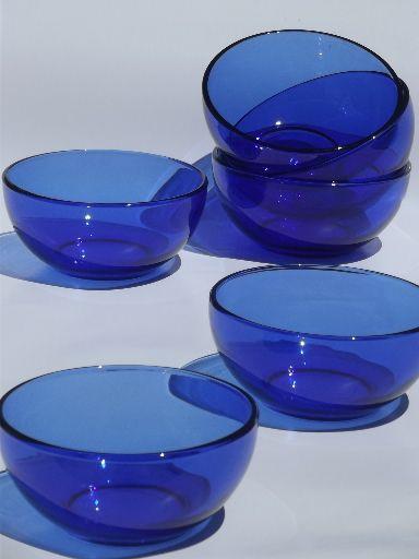 Cobalt Blue Glass Soup Salad Bowls Crisa Mexico Libbey Glass