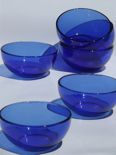 Royal Sapphire Avon Cobalt Glass Dinnerware Service Almost 12