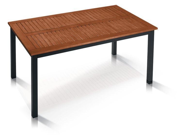 Florabest Alu Gartentisch Mit Holzplatte Braun 1 Gartentisch