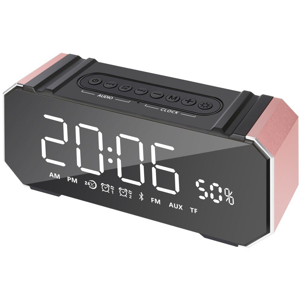 Time Clock Bluetooth Speaker Portable Lcd Display Mp3 Speakers