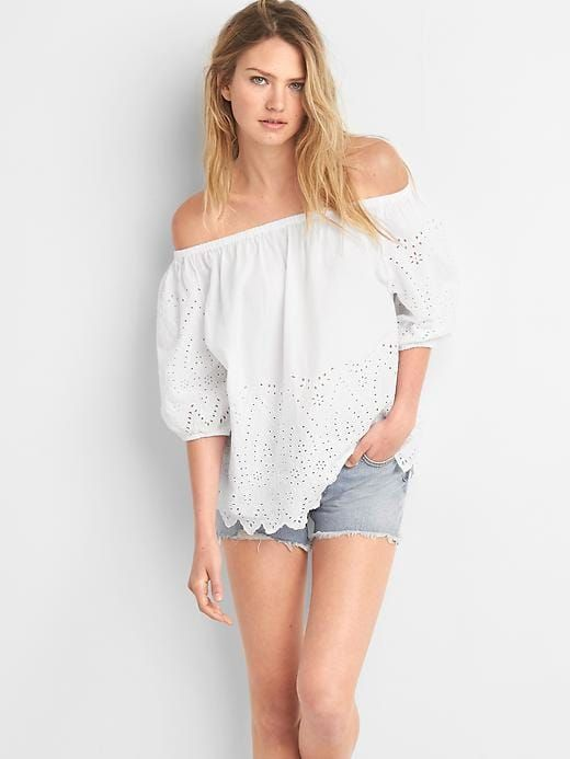 f3692a0b218cbd Gap Womens Oversize Off-Shoulder Eyelet Top White | Products ...