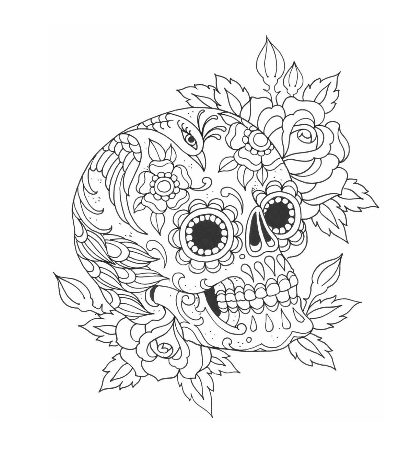 Flash Coloring pages, Floral skull, Day of the dead skull