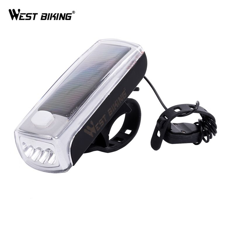Solar Powered USB Rechargeable LED Bicycle Headlight Bike Head Light Lamp Horn