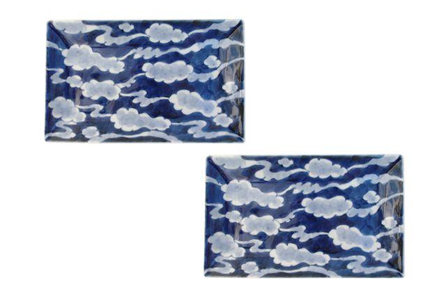 有田焼 長角皿(大) 染付浮雲 23cm そうた窯 2枚セット セットで