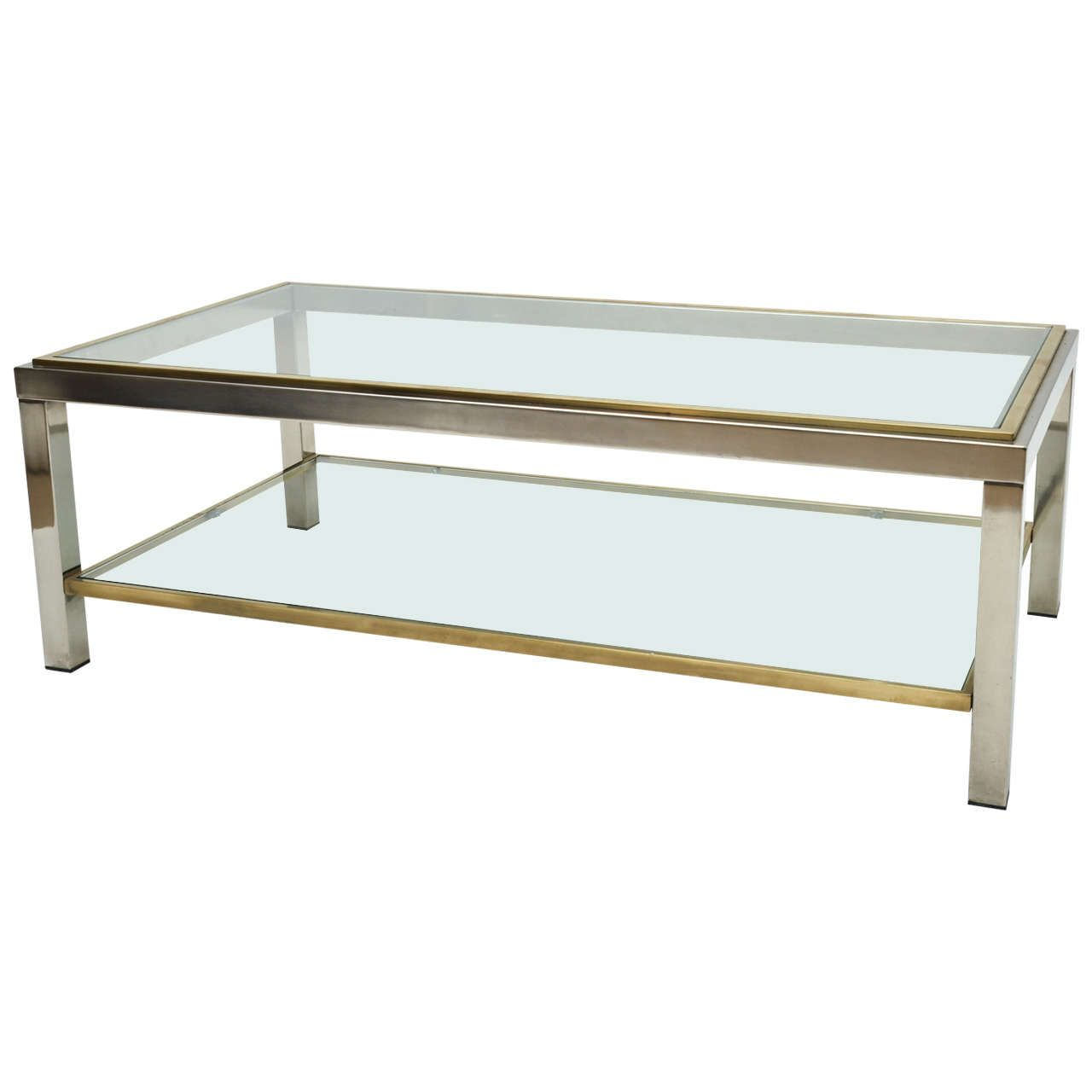 Mid century modern french brass and chrome glass coffee table mid century modern french brass and chrome glass coffee table geotapseo Choice Image
