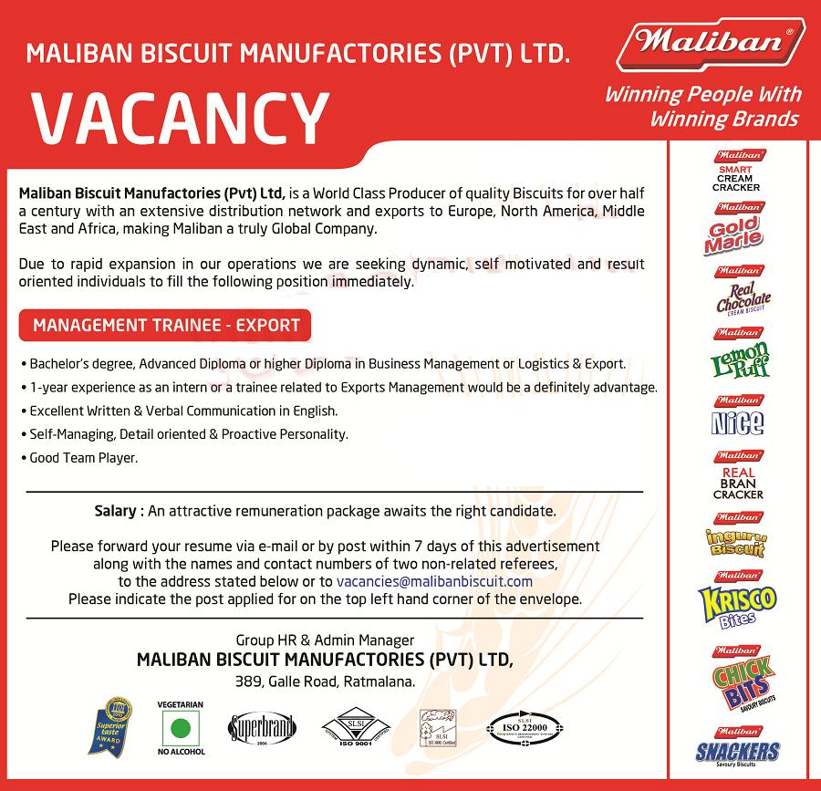 Management Trainee Export Job Vacancy Is Open At Maliban Biscuit