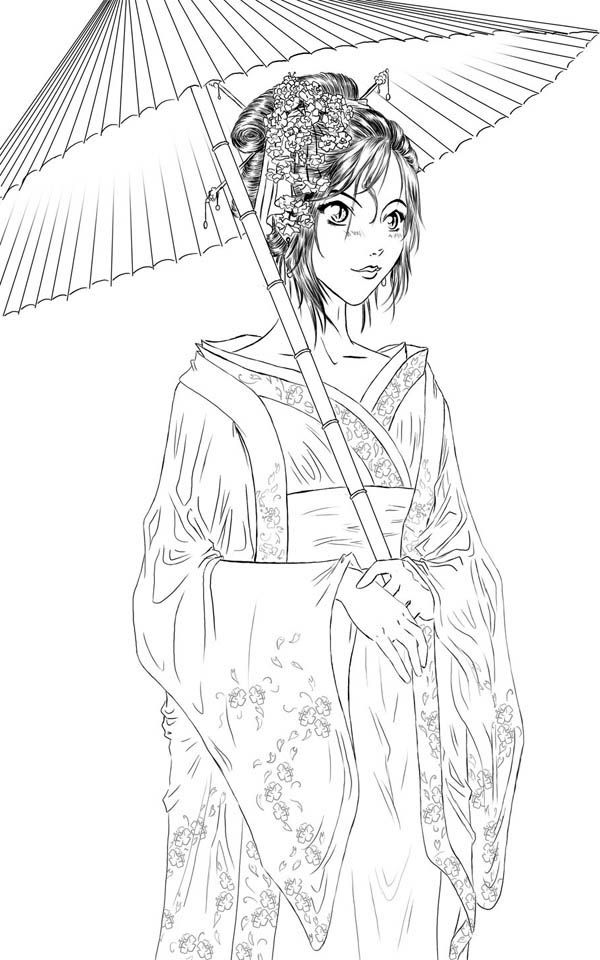 Geisha Coloring Page For Kids Coloring Books Coloring Pages People Coloring Pages