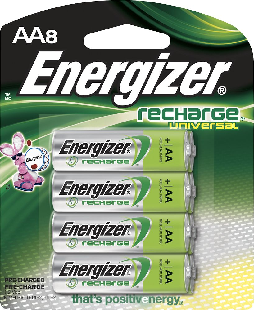 Energizer Recharge Universal Rechargeable Aa Batteries 8 Pack Unh15bp 8 Best Buy Energizer Rechargeable Batteries Nimh