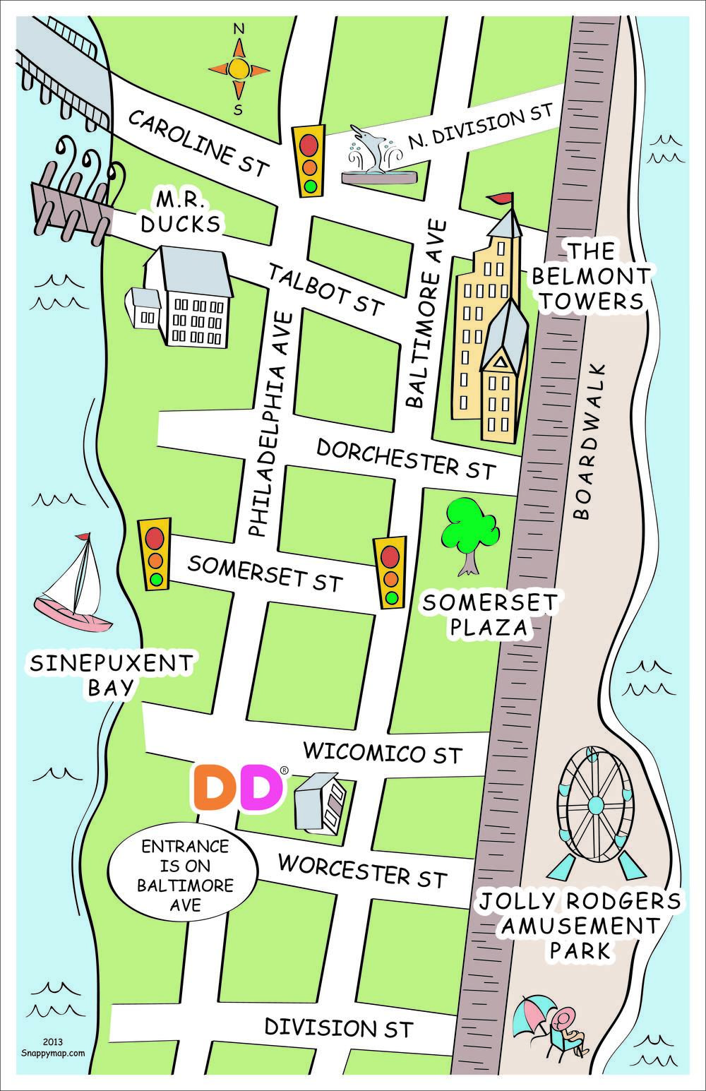 Ocean City, MD discovery map style | fun business map | How to draw on