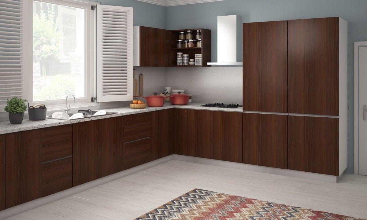 Indian modular kitchen design l shape - Shelby L Shaped Kitchen