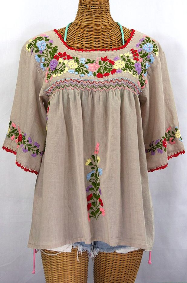 """La Marina"" Embroidered Mexican Peasant Blouse -Greige ..."