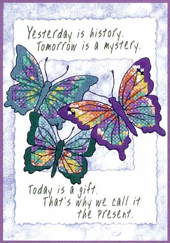 TODAY IS A GIFT Dimensions stamped cross stitch kit BUTTERFLIES