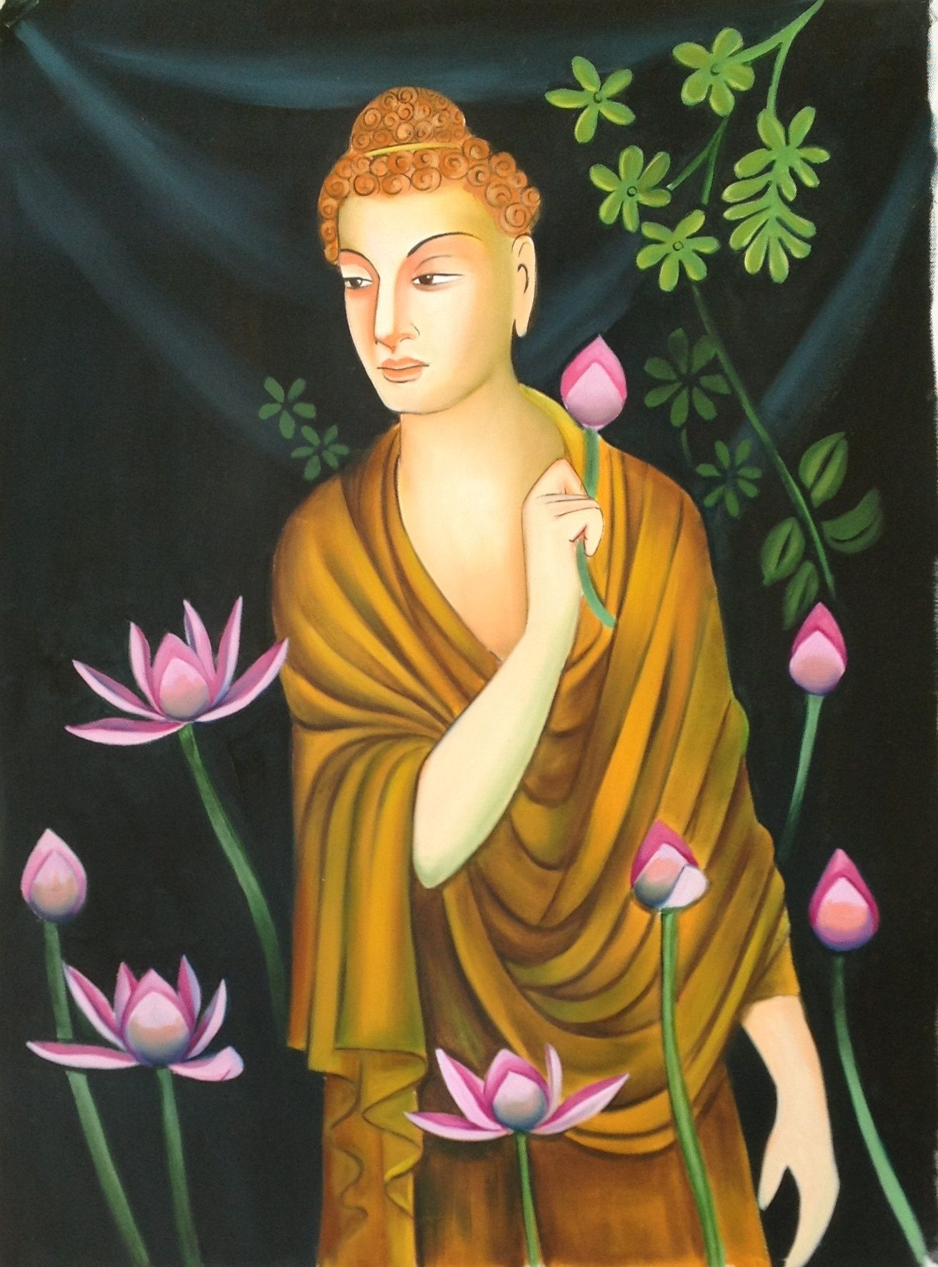 Buddha Painting Handmade Buddhist Oil on Canvas Indian Buddhism Wall ...