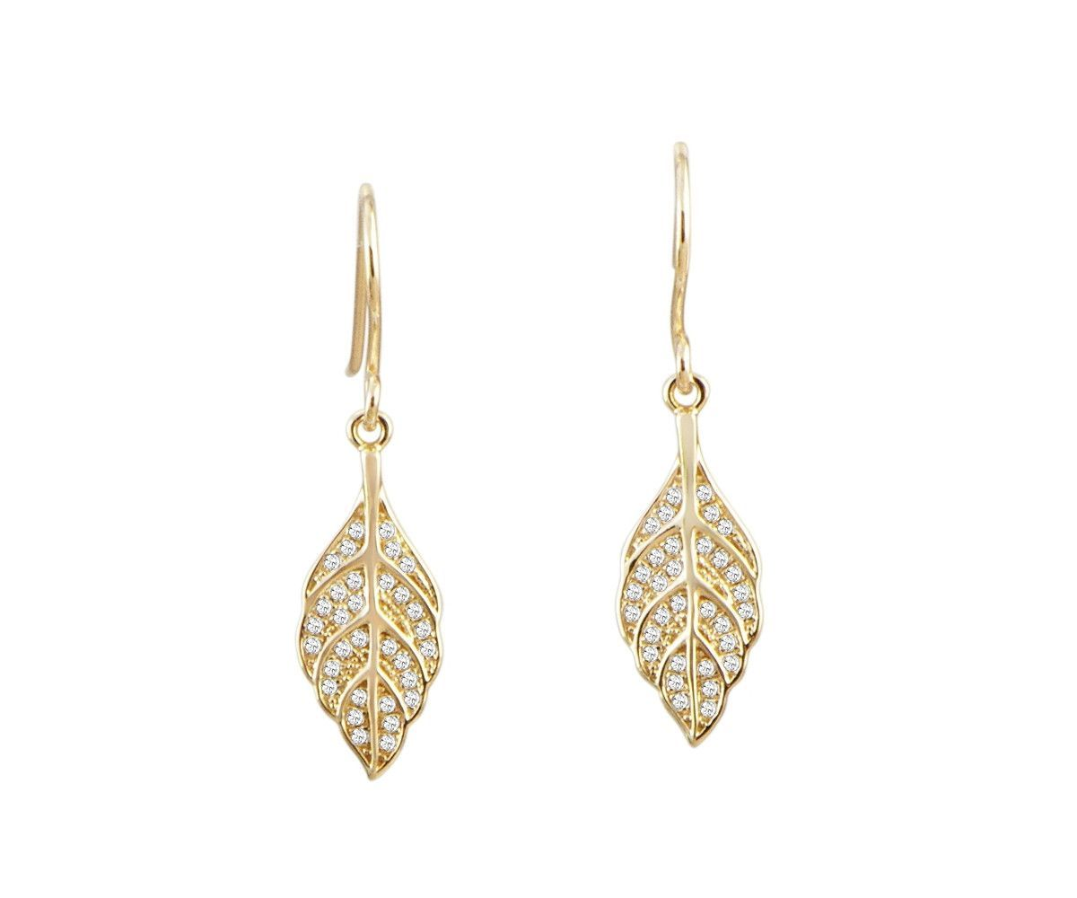 YELLOW GOLD PLATED 925 STERLING SILVER HAWAIIAN MAILE LEAF CZ HOOK EARRINGS
