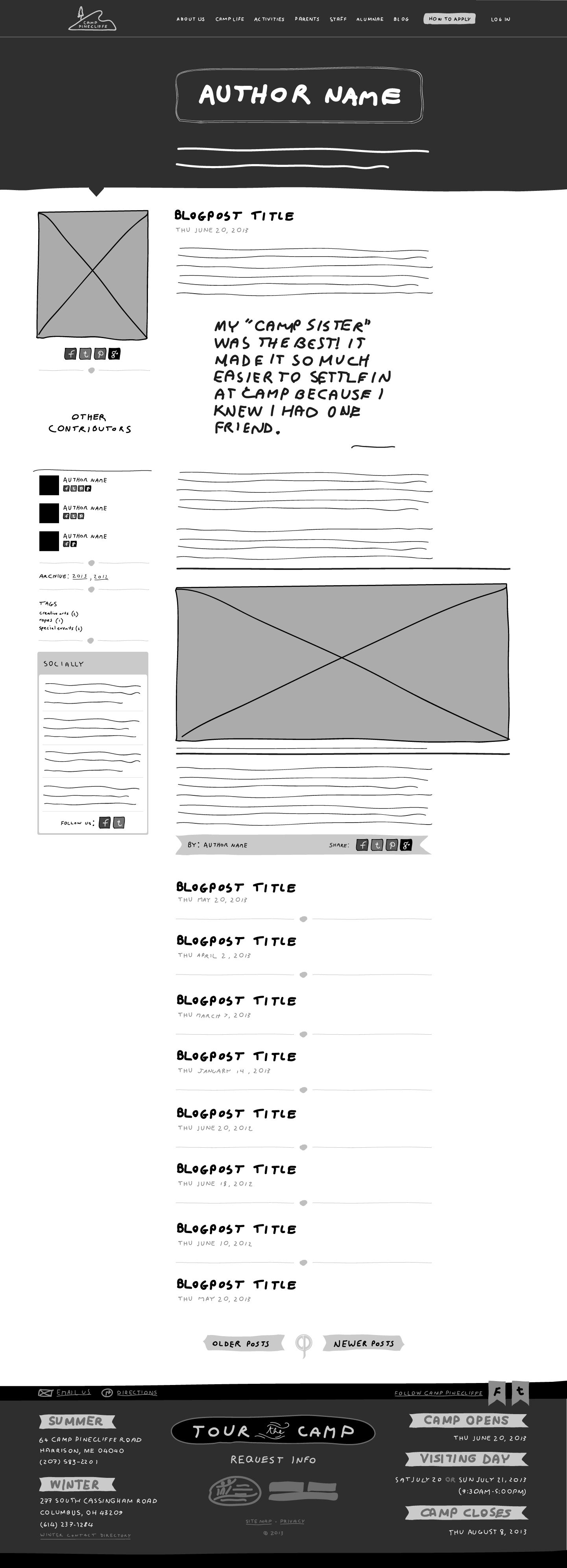 Custom Website Redesign 2 Author Page Sketch Wireframe With The