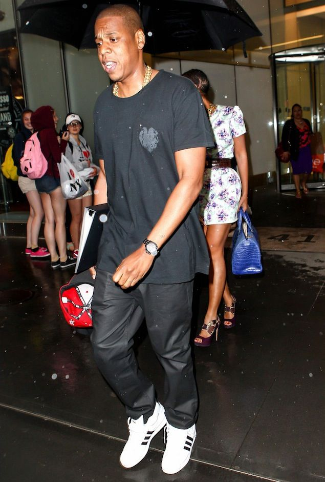Jay Z Wears Balmain Eagle Print T-shirt and Adidas Sneakers in NYC ...