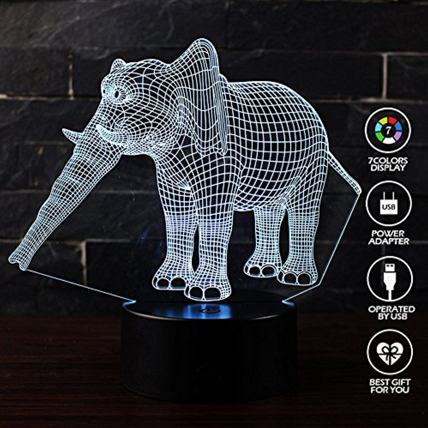 Erhard 3d Night Light Table Desk Led Lamps 7 Colors Change Decor Atmosphere Illusion Lamp With Usb Cable Smart Touch But 3d Night Light Night Light Light Table